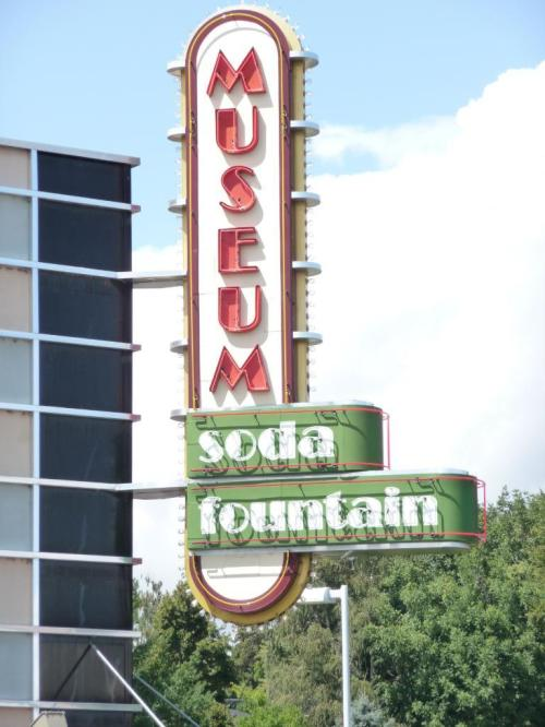 soda fountain and museum sign